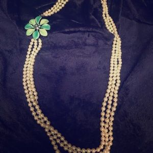 Talbots Pearl Floral Necklace